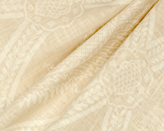 Period Peace : Biscotti - Ivory medallion trellis linen fabric.
