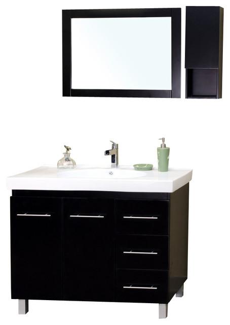 39 Inch Single Sink Vanity-Wood-Black -Right Side Drawers ...