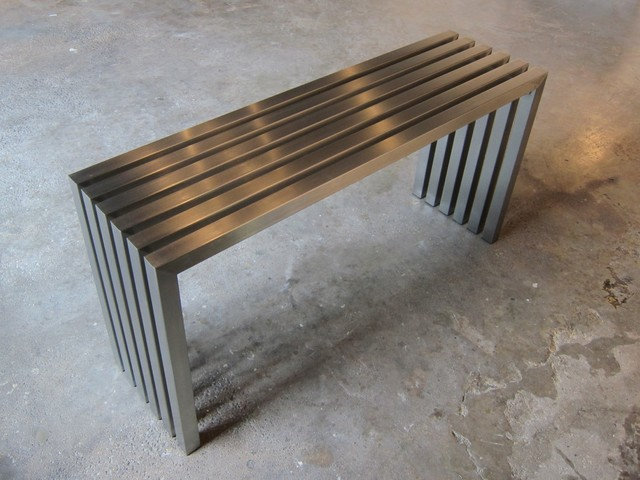Linear Stainless Steel Coffee Table Modern