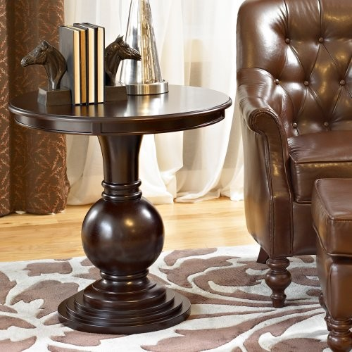 Espresso Round Accent Table traditional-side-tables-and-accent-tables