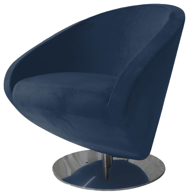 Cosby fabric swivel chair midnight blue modern for Modern swivel accent chair