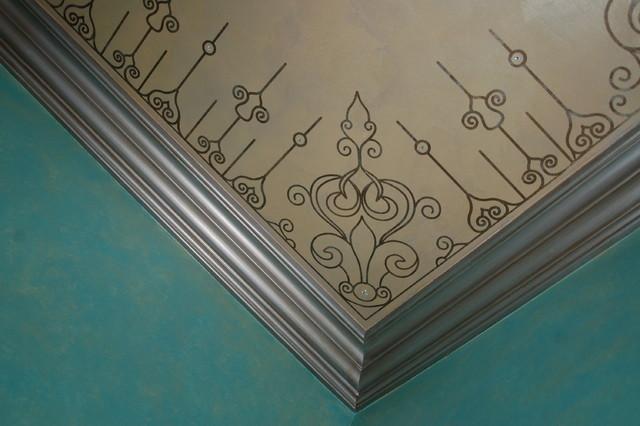 Modello Ceiling, Swarovski Crystals, Metallic Glazed Trim Powder Room eclectic-powder-room