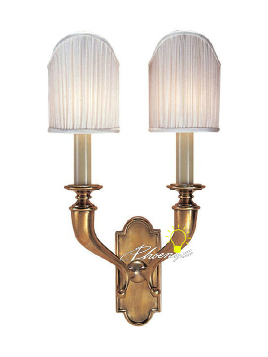 Anitque Double Lights Fabric and Copper Wall Sconce - Anitque Double Lights Fabric and Copper Wall Sconce