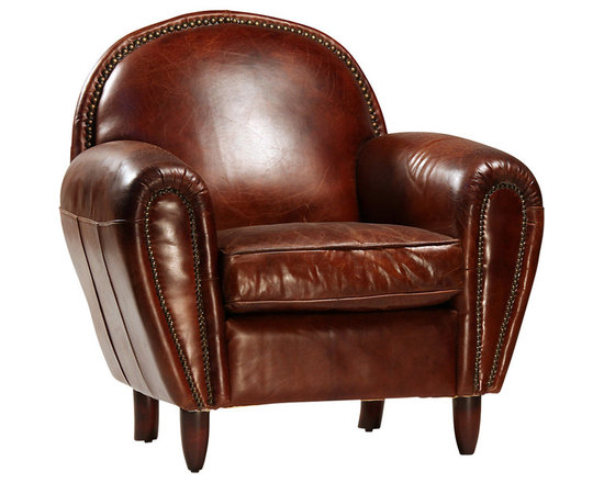 Derby Chair - The Derby chair is a wonderful accent chair for your library or traditional living space. The rounded chair back and arms are accented with antique brass nailhead trim over the gorgeous hand finished, top grain leather upholstery. For durability and comfort, this chair features hardwood frames and a seat cushion with a foam core with a feather/Dacron wrap. Perfect for late nights by the fire or early mornings with a great cup of coffee, this chair is sure to become a fast favorite.