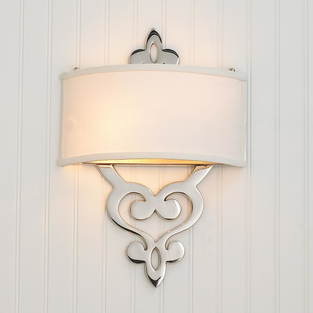 Wall Sconces With Lamp Shades : Damask Scroll ADA Wall Sconce - Lamp Shades - by Shades of Light