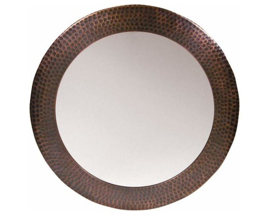 The Copper Factory - Copper Factory Copper Framed Round Mirror Copper 19 1/2 Inch Dia. - Copper Factory Copper Framed Round Mirror Copper 19 1/2 Inch Dia.