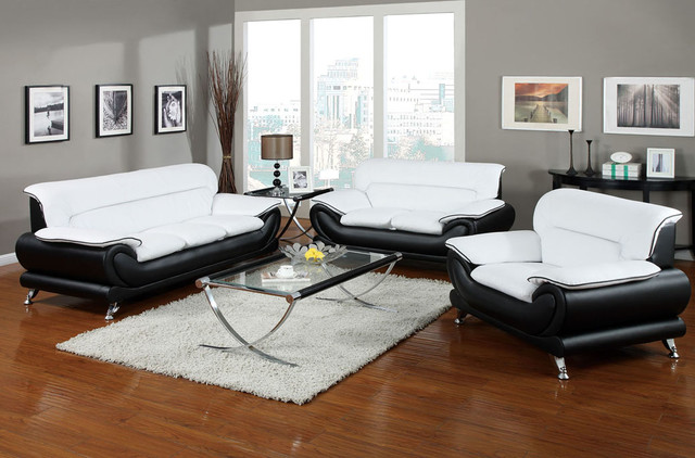 Contemporary, Modern Leather Upholstered Living Room Sofa Sets