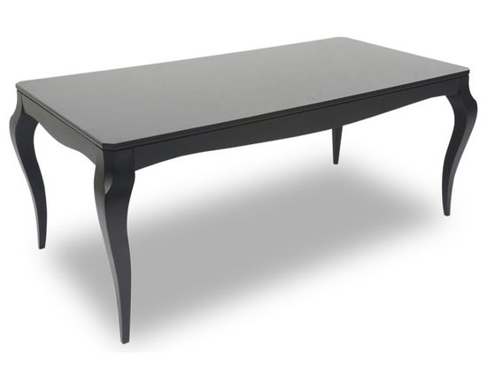 Bryght - Vinta Ebony Glass Dining Table - Fusing the Victorian with the modern, the Vinta dining table displays a classic elegant design with contemporary undertones. Its beautiful cabriole legs give it a vintage sculptural edge, while its smooth tempered glass over wooden top offers functionality