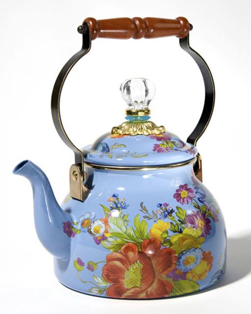 Flower Market Blue Two-Quart Tea Kettle - LIGHT BLUE - Contemporary - Kettles