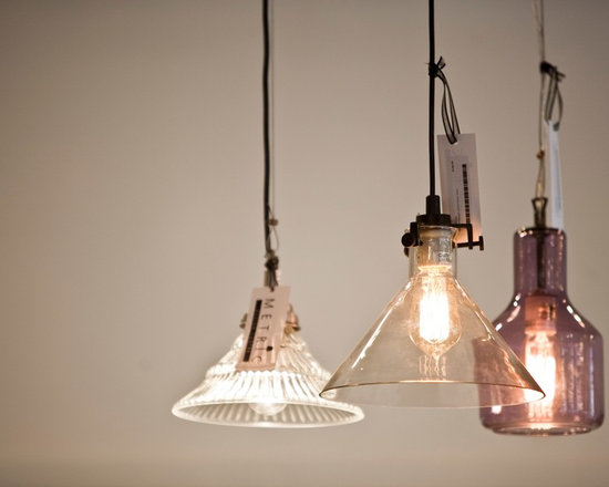 Lighting - Clear and coloured glass pendants