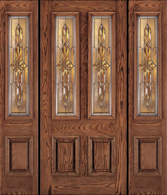 Jeld wen a110 oak woodgrain door and sidelights cashmere - Jeld wen exterior doors with sidelights ...