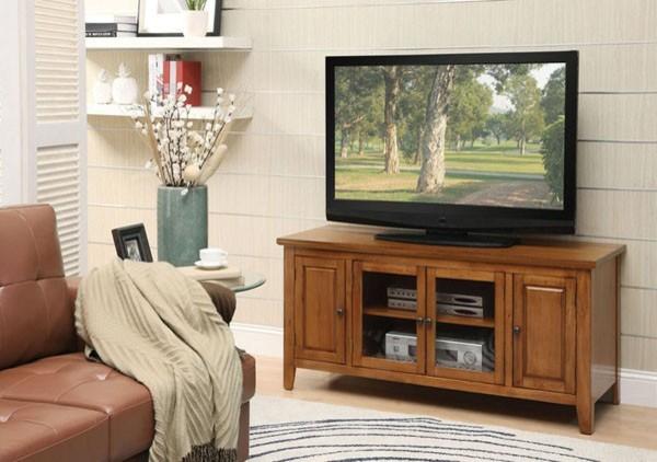 Acme Furniture Christella Glass Door TV Stand In Oak Finish 10342 Trans