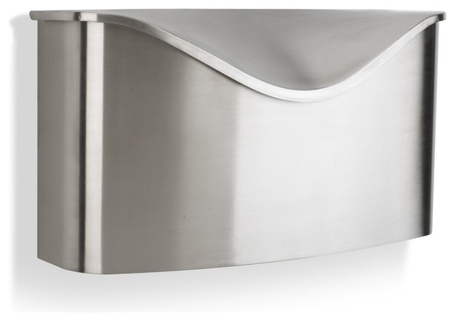 Umbra Postino Wall-Mount Mailbox, Stainless Steel - Modern - Mailboxes - by Amazon