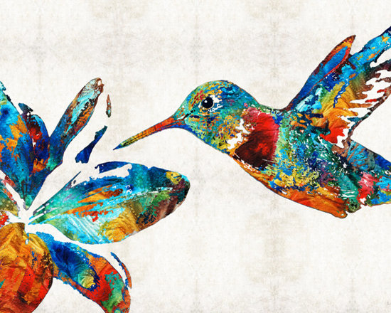 Animals, Fish and Birds - Colorful Hummingbird Art by Sharon Cummings