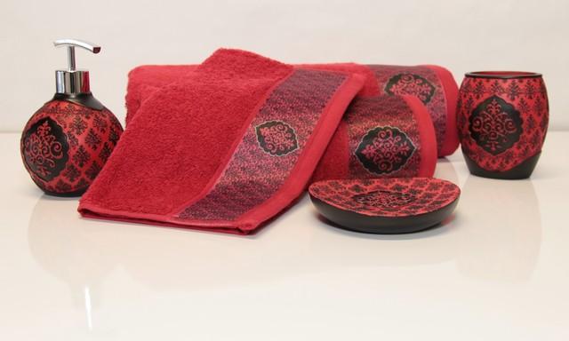 sultana red 6 pieces luxurious 100 cotton bathroom set