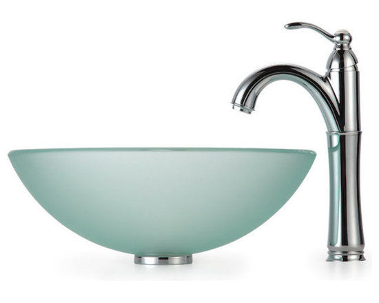 Kraus - Kraus C-GV-101FR-12mm-1005CH Frosted Glass Vessel Sink and Riviera Faucet - Add a touch of elegance to your bathroom with a glass sink combo from Kraus