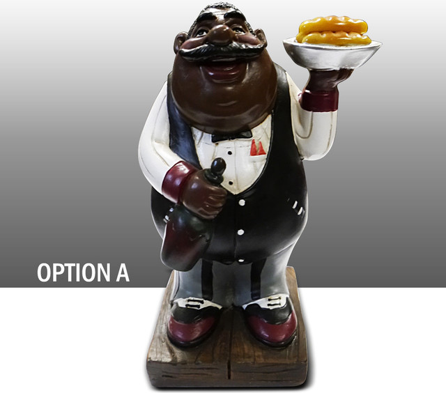 black chef kitchen figure with cake table art decor option a traditional home decor by. Black Bedroom Furniture Sets. Home Design Ideas