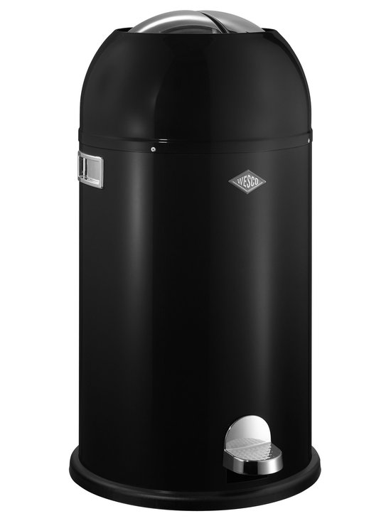 Wesco - Wesco Kickmaster Waste Can, Black - The Kickmaster from Wesco features a stylish, contemporary design.  Provides handsfree operation as the two steel flaps on top are opened/closed by the sturdy pedal mechanism.  Designed in Germany, this unit is manufactured from powder-coaated sheet steel and includes a 7.5 gall zinc plated metal liner
