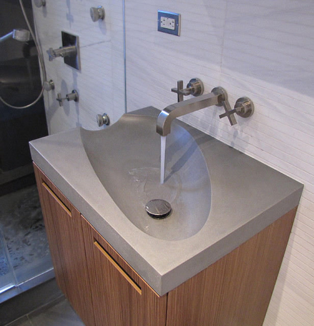 Concrete guest bathroom sink modern bathroom sinks for Latest bathroom sink designs