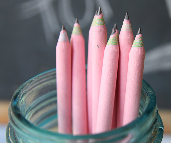 10 Piece Pink EcoFriendly Recycled Paper Pencil Set by Write With Moxie modern-desk-accessories
