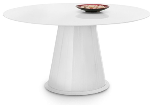 Palio-152 Round Table - White High Gloss Lacquered Base - Extra White ...