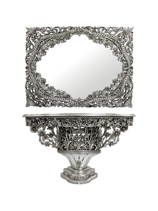 Chichi Furniture Exclusives. - A truly exclusive console table and mirror of intricate design.