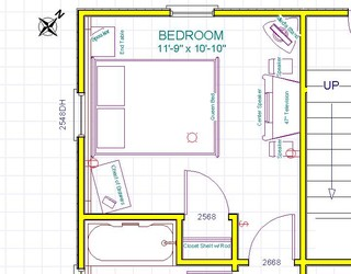Bedroom furniture layout any good ideas for What size dining table for 10x10 room