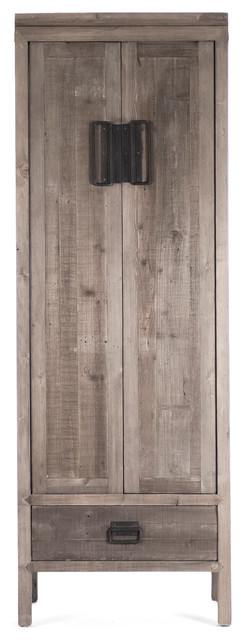 Ming Reclaimed Oak Industrial Asian Inspired Tall Cabinet transitional-storage-units-and-cabinets