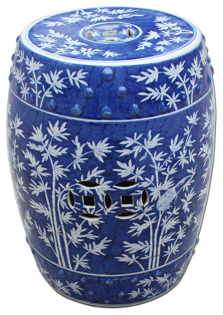 blue white bamboo magpie garden stool asian accent