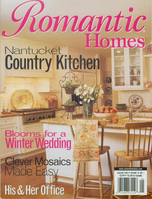 Romantic homes magazine cover kitchen white beadboard Home and cottage magazine