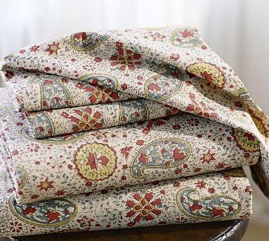 Marissa Paisley Organic Cotton Sheet Set Full Blue