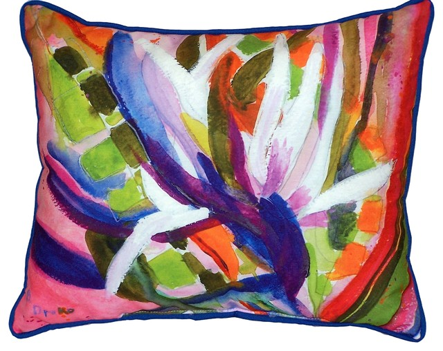 Bird Of Paradise Flower Large Outdoor Pillow - Tropical - Decorative Pillows - by Betsy Drake ...