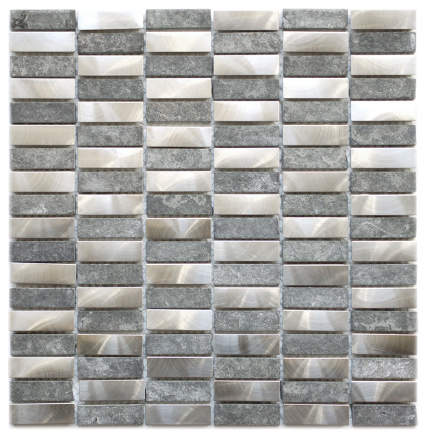Stainless steel bricks and grey basalt stone eden mosaic tile sheet contemporary tile by