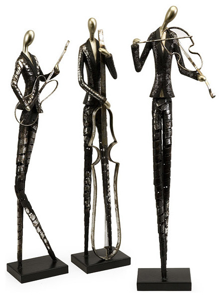 Argento 3-piece French Quarter Statues contemporary-garden-sculptures