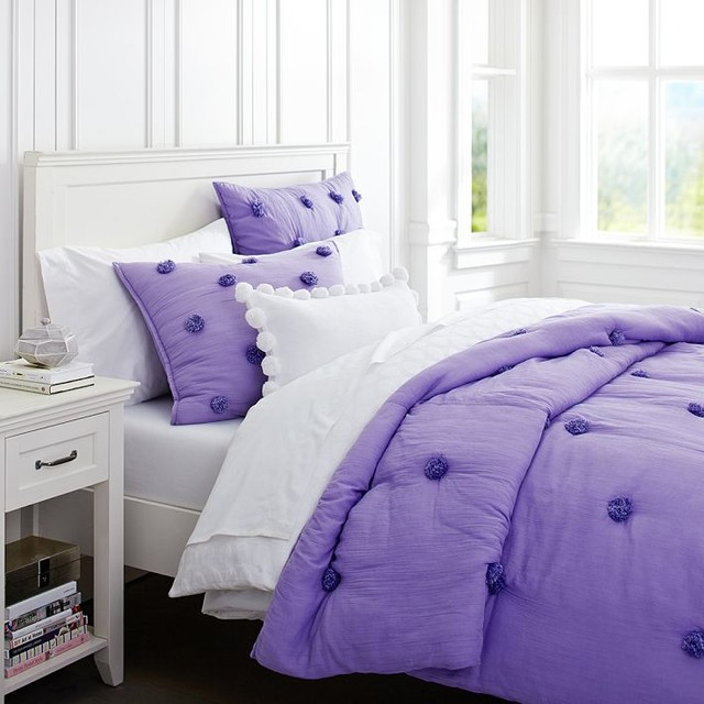 Crinkle Puff Quilt Purple Contemporary Kids Bedding