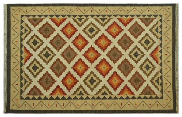 Flat Weave Ivory Oriental Rug Hand Woven Anatolian Kilim Rug Sh6479 traditional-rugs