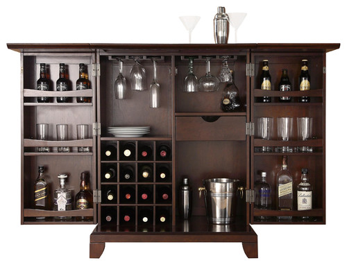 Can the Newport Expandable Bar Cabinet be supplied with wheels
