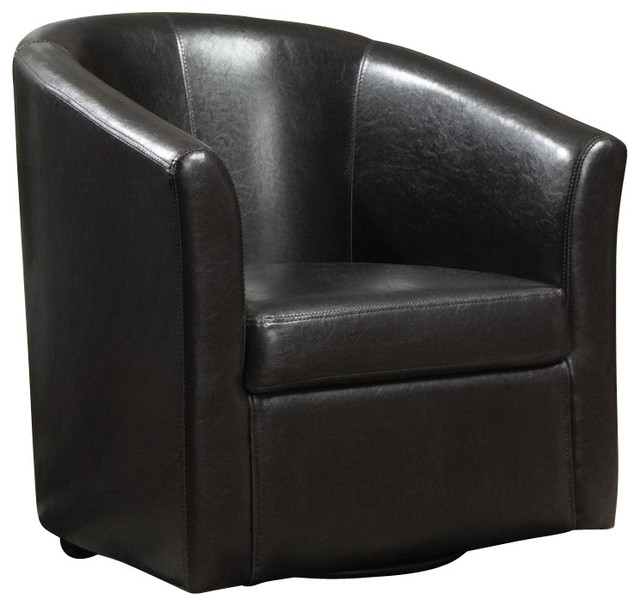 Coaster Club Chair in Dark Brown Faux Leather - Transitional - Armchairs And Accent Chairs - by ...