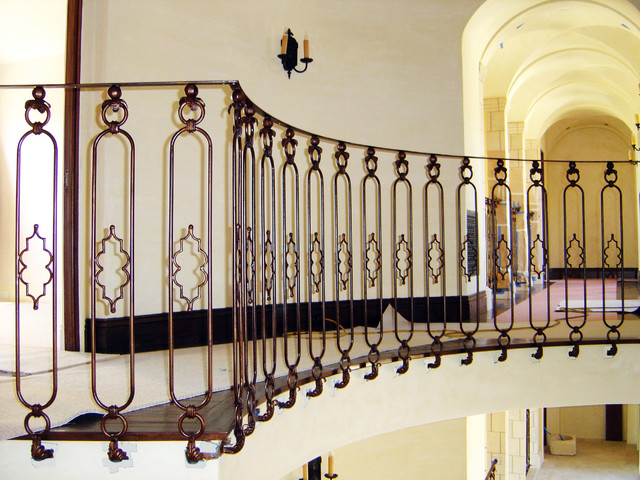 Wrought iron rotunda railing mediterranean los angeles by vik iron designs Exterior wrought iron railing designs