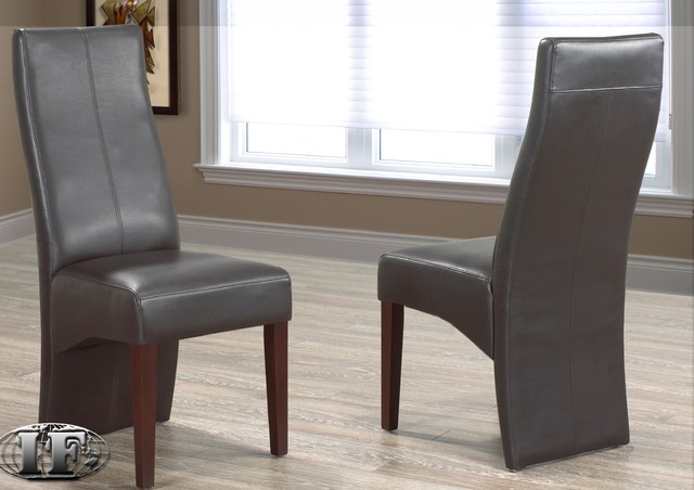 Bart dark brown leather dining chair contemporary for Modern dining chairs toronto