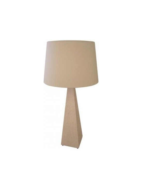 MECOX FAUX SHAGREEN LAMP - Previously shedding light on the desk of an elegant Upper West Side apartment, this Mecox Shagreen Lamp's pyramid base shape is as chic as its Wood burned shagreen pattern. Although in good condition, it needs a new lampshade. We suggest pairing the neutral ivory tone with a clean white shade and let the texture do all the talking.