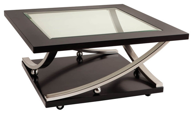 Standard Furniture Melrose Square Glass Top Cocktail Table In Rich Dark Merlot Traditional