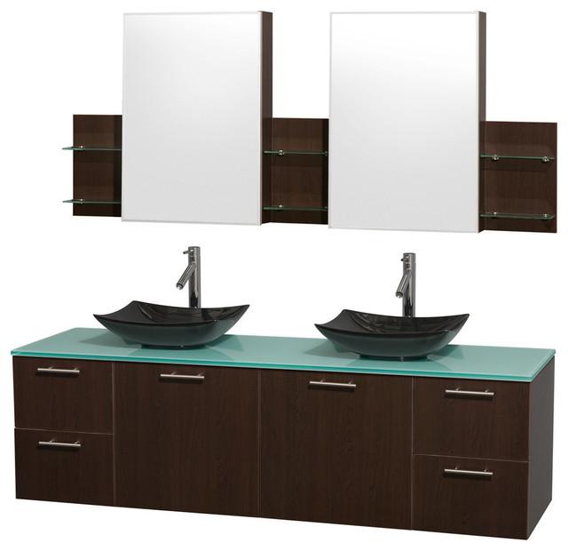72 double bathroom vanity green glass countertop