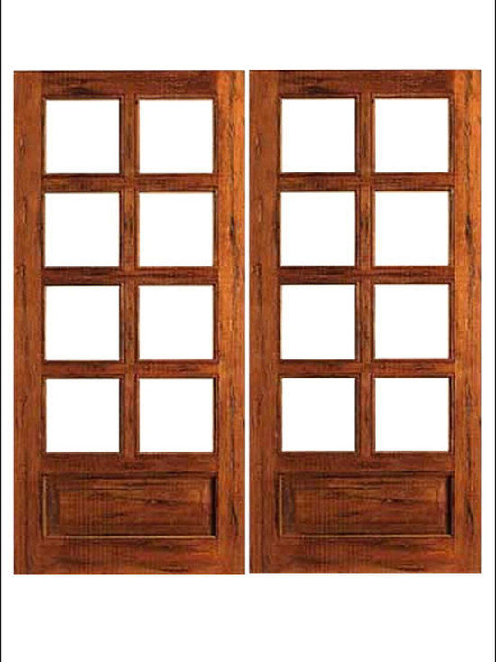 AAW Inc. - French Doors Model # Rustic 8 Lite PB - French doors in Rustic ( Teak ).  These doors are stainable and paintable and come in multiple sizes in options with including Low-E Glass.  These doors can be used as interior (available under our Interior Glass Doors)  or exterior doors.  Doors picture have been distressed by the manufacturer.