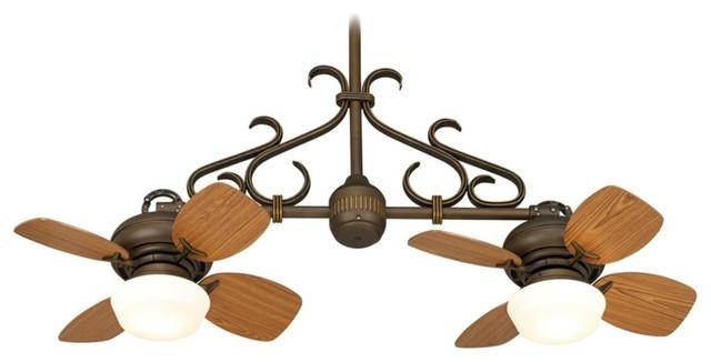 Arts and Crafts - Mission Casa Vieja Hacienda Twin Fan Bronze Scroll Ceiling Fan traditional-ceiling-fans
