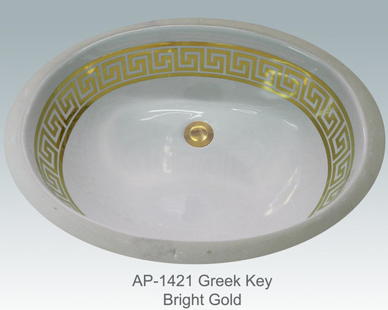 "Hand Painted Undermounts by Atlantis Porcelain - ""GREEK KEY 2"" w/LINES Shown on AP-1421 white Ovalyn undermount 17-1/2""x14-1/2"". This design is available in bright gold and bright platinum on any of our sinks. You can customize the design  to match your specific décor."