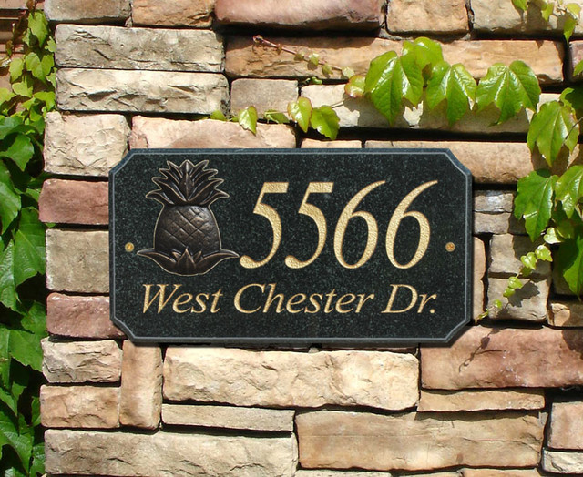 """Stone Metal """"Pineapple Logo"""" Solid Granite Address Plaque in Autumn Leaf modern-house-numbers"""