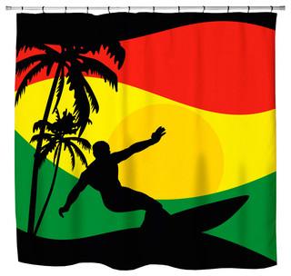 Quot Surfer Mon Quot Jamaican Colored Shower Curtain Beach Style