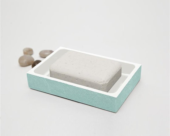 "Manchester Soap Dish-Turquoise - Up your elegance and add an edge to your aesthetic with our striking faux shagreen Manchester collection. Each piece is crafted to highlight the natural ""eye"" pattern inspired by real shagreen, and topped with a wood veneer trim. Available in five colors, every set is hand-finished to bring out the highs and lows of each hue. Turn the page to see the Manchester in every color!"