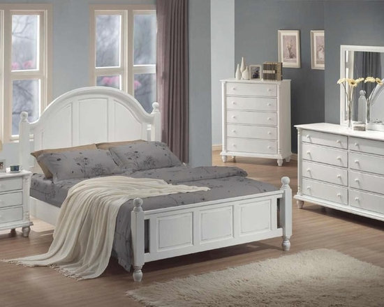 Bedrooms Furniture - Transitional white Cal King Bed